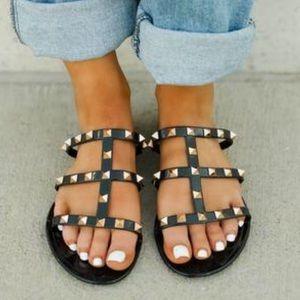 NIB Black Joanie Gold Stud Jelly Slide Sandals